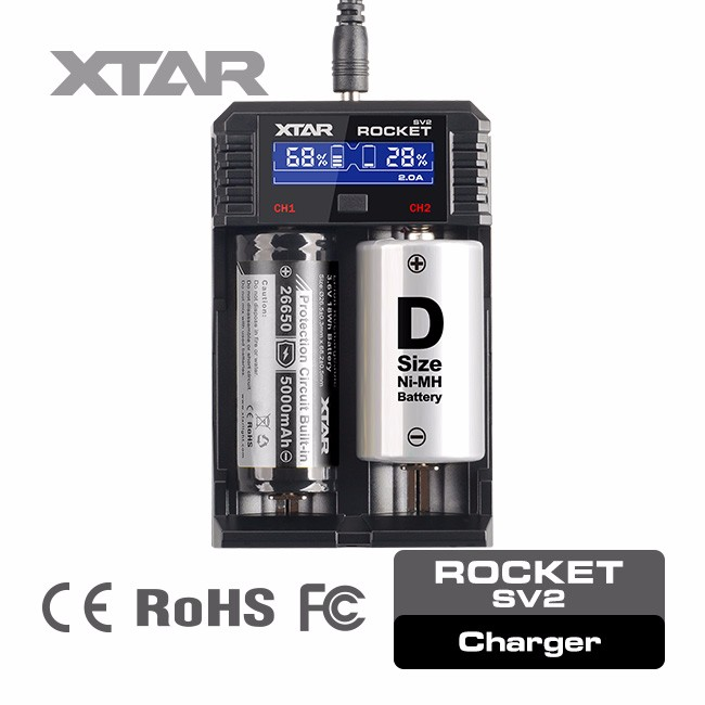 XTAR Rocket SV2 e cigarette 18650 d cell battery charger