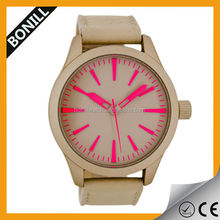 High quality unisex beautiful watch,fashion design , brushed steel case with natural leather strap .