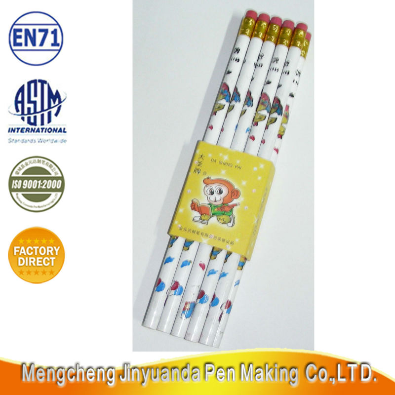 New type animal printting 10 pcs wooden pencil with color eraser non toxic for kids