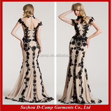EL080 Lace appliqued nude and black elegant full figure taobao evening dress from dubai