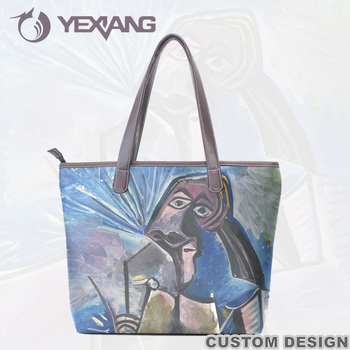 Oil Painting Portable Shoulder Shopping Bag Womens Tote Bag Outdoor