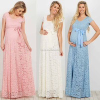 3XL Plus Size Dress Scoop Neck Short Cap sleeves Lace Sash Tie Maternity Maxi Gown Summer Dress Ladies