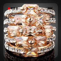 2015 fashion design alloy plating rose gold white gold latest design diamond ring weeding ring