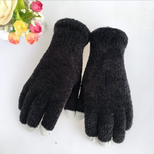2015 fashion polyester feather yarn knitting touch screen glove