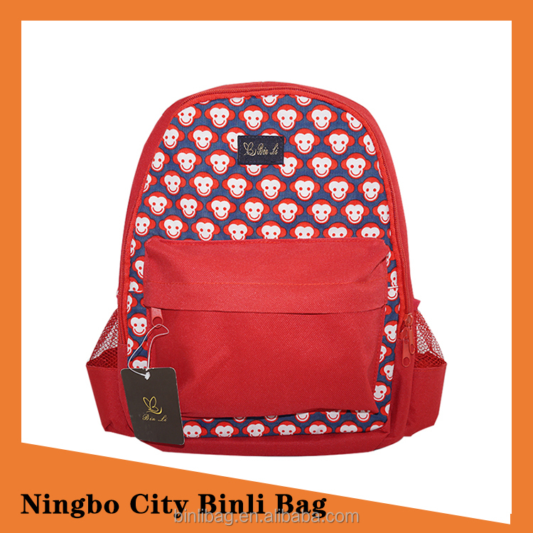 High Capacity Cartoon Red Monkey School Backpack Bag For Students / Children