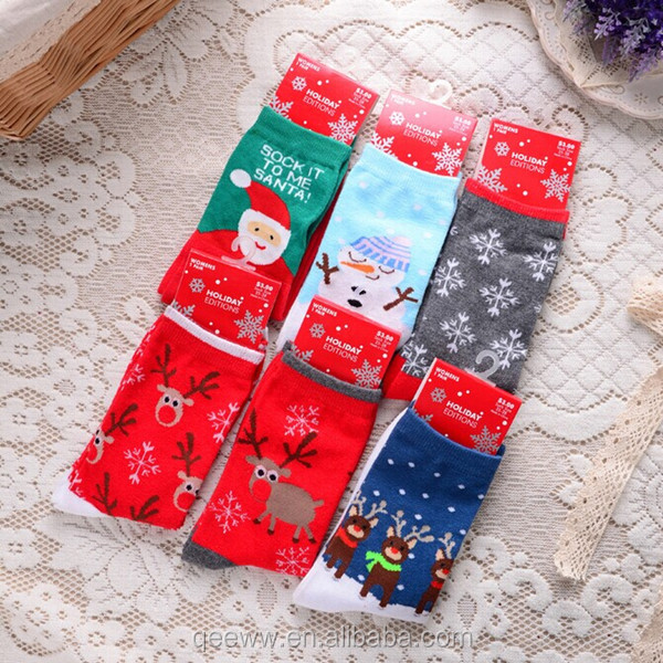 wholesale 6color/lot New Cute Women's Snowflake Deer santa snowman pattern pattern Wool Socks Casual Ladies Christmas Gift socks
