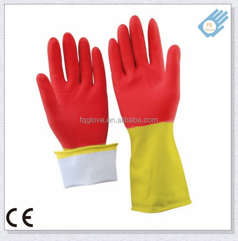 CE Approved Colorful Cotton Lined Latex Kitchen Gloves