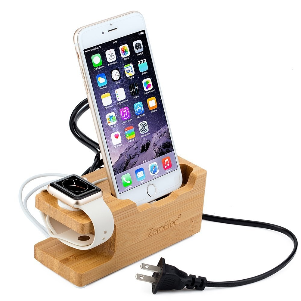 Bamboo Dock Station Charger Stand Holder For Apple Watch Stand / iPhone 5 / 5S / 5C / SE / 6 / 6 Plus / 6S / 6S Plus / 7