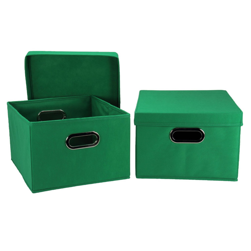 Household Essentials Collapsible Decorative Box with Lid and Built-In Grommet Handles