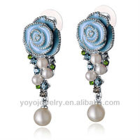 Flower gold 2012 new model enamel pearl earring