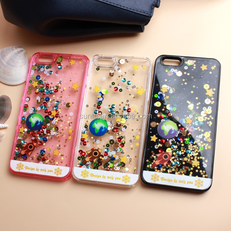 Most Selling Quicksand Fluid liquid Flowing Stylish Deluxe Dynamic Moving Stars Protective Phone Case For IPhone 6 / 5s