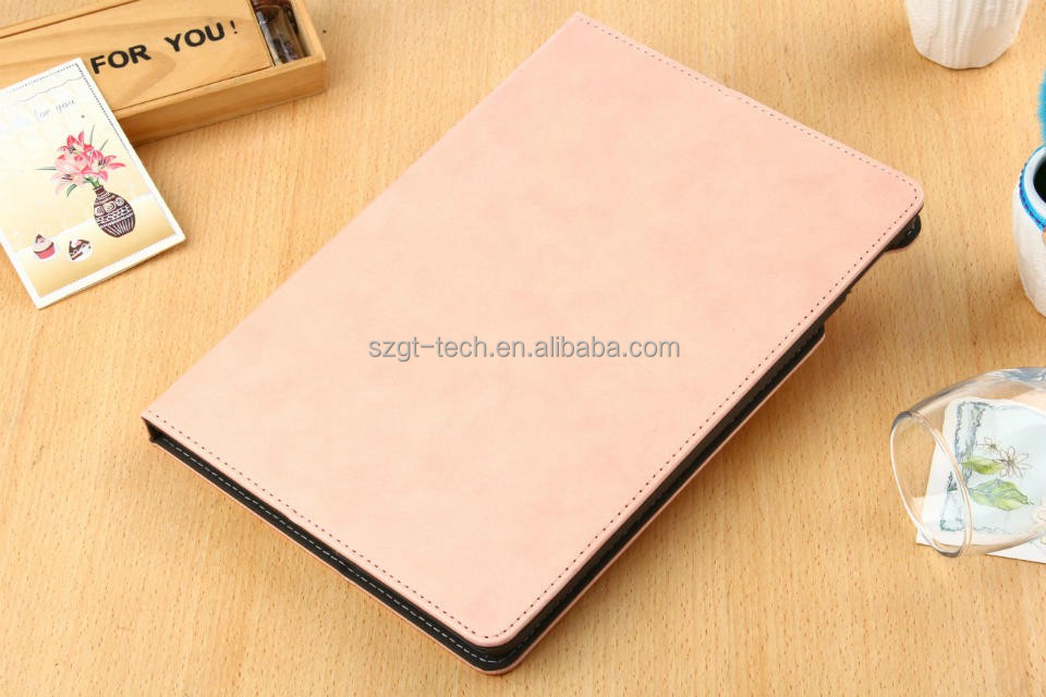 Customized logo Leather Stand Flip Cover Case for ipad air 2 credit card holder with Hand Strip