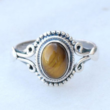 Ally express cheap wholesale antique silver natural tiger eye stone ring
