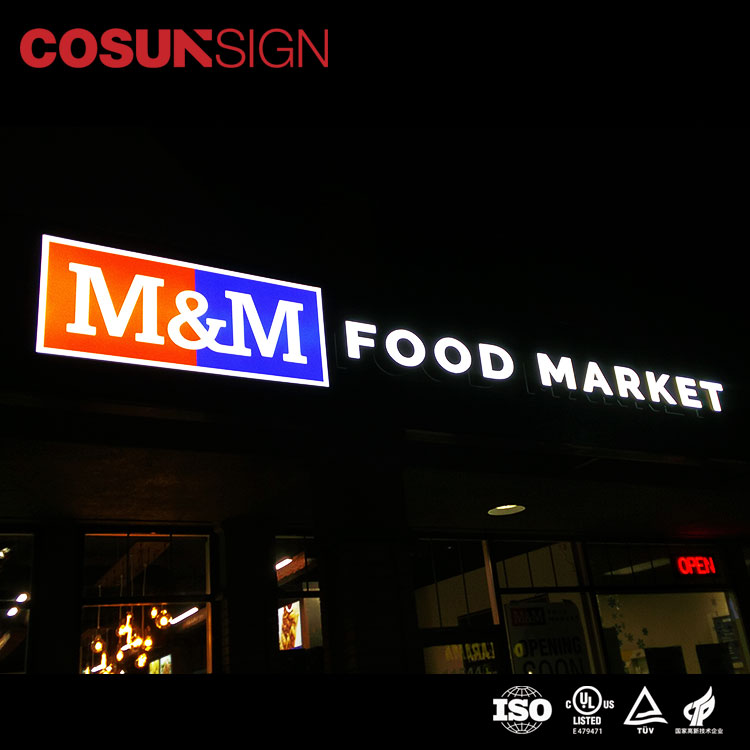 Custom Chain Shops and Supermarket LED Light Sign Stainless Steel  Front lighting Advertising Sign Board