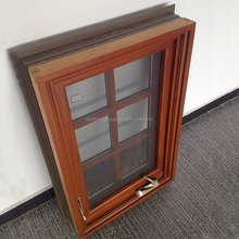 High quality waterproof aluminium profile frame frosted glass wooden bathroom top hung window design