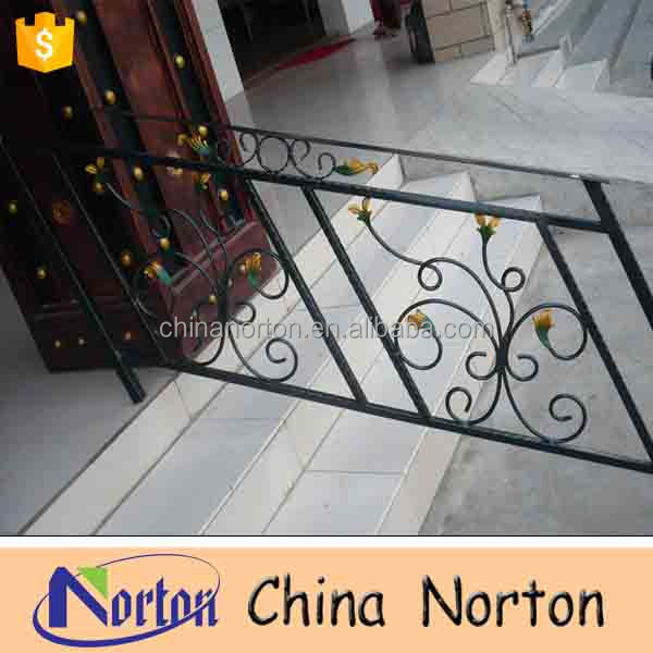 China Norton ornamental wrought iron railings outdoor wrought iron stair railing NT-WIB034