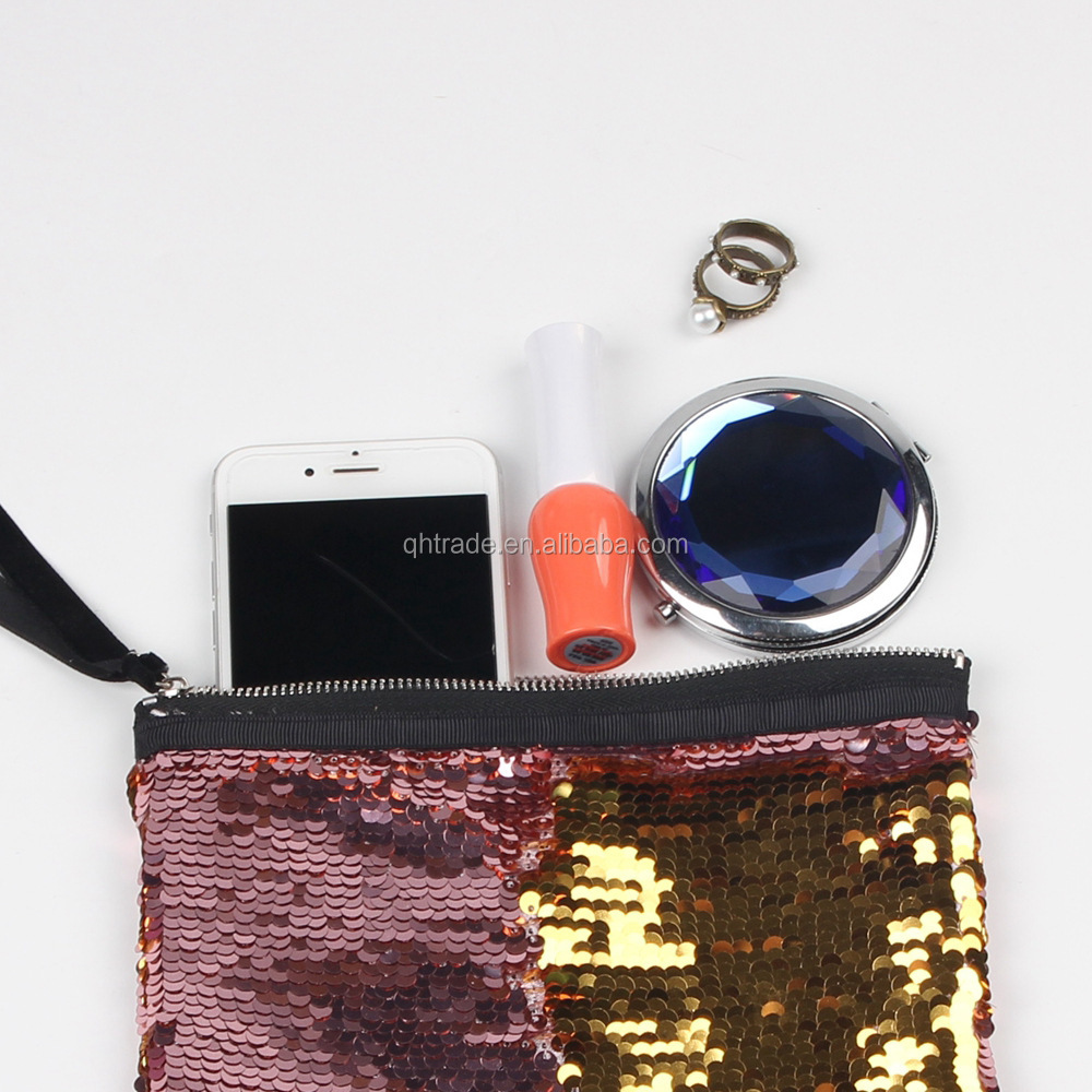 New Arrival Magic Reversible Mermaid Cosmetic Bag Fashion Shiny Ladies Sequin Makeup Pouch Bag