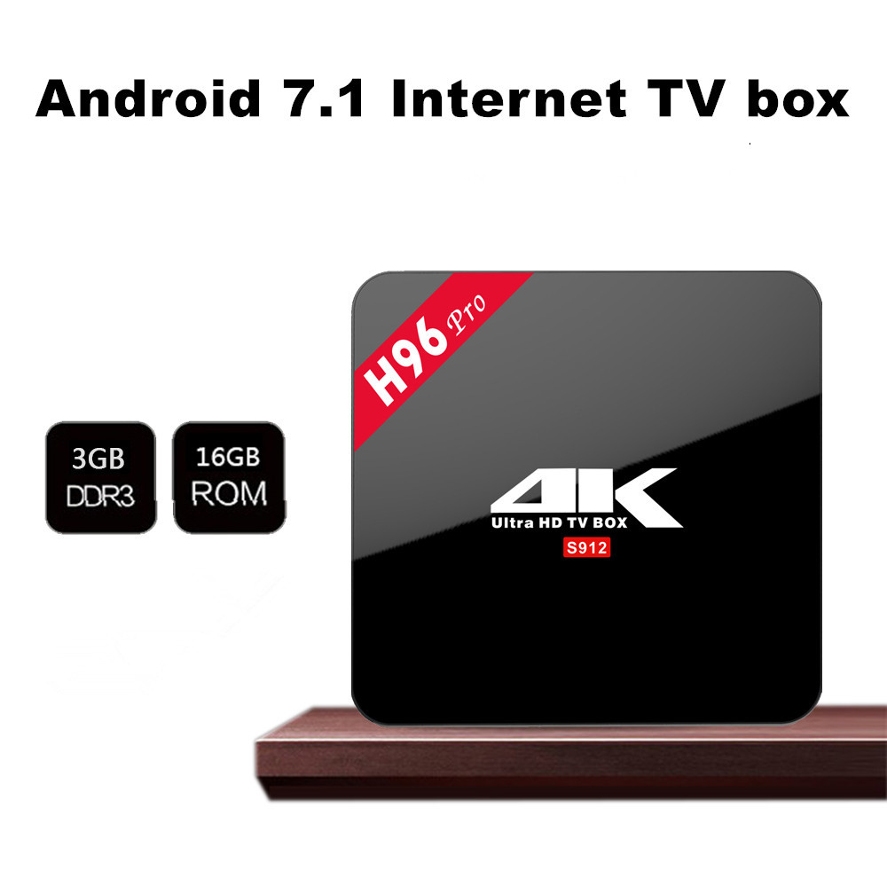 2017 Shenzhen Android 7.1 Smart TV caja H96 pro amlogic S912 3G 16G TV BT WiFi AC HD Set Top Box