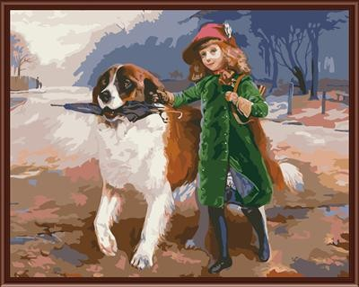 handmaded painting by numbers GX6835 little girl and dog picture paint boy