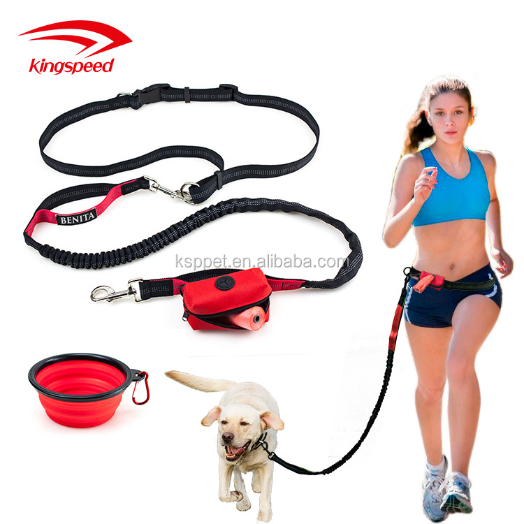 2017 Wholesale amazon premium custom reflective bungee running nylon hands free dog leash with waist belt for pet