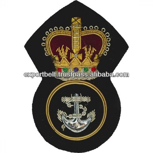 Navy Blazer Badges | Hand Embroidery Gold and Silver Bullion Wire | Royal Navy Gold Bullion Cap Badge