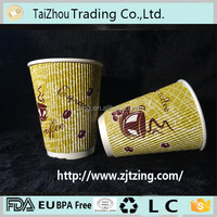 Wholesale 16 oz Ripple Coffee printed Paper Cup For Coffee