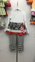 Cotton bownot white top stripe pants decorative flower dress elastic cotton leisure dress child printing outfit