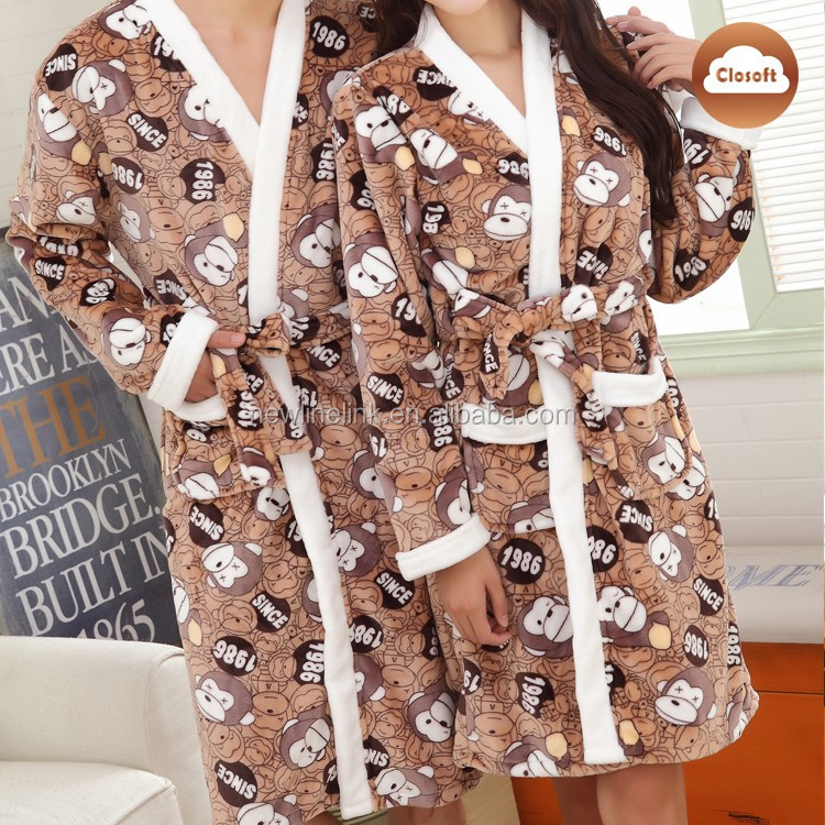 Coral fleece pajama robe men and women bathrobe kimono robe