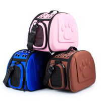 Dog Carrier Footprint Pure Color Pet Bag Dog Cage Soft EVA Folding Puppy Dog Carry Bags