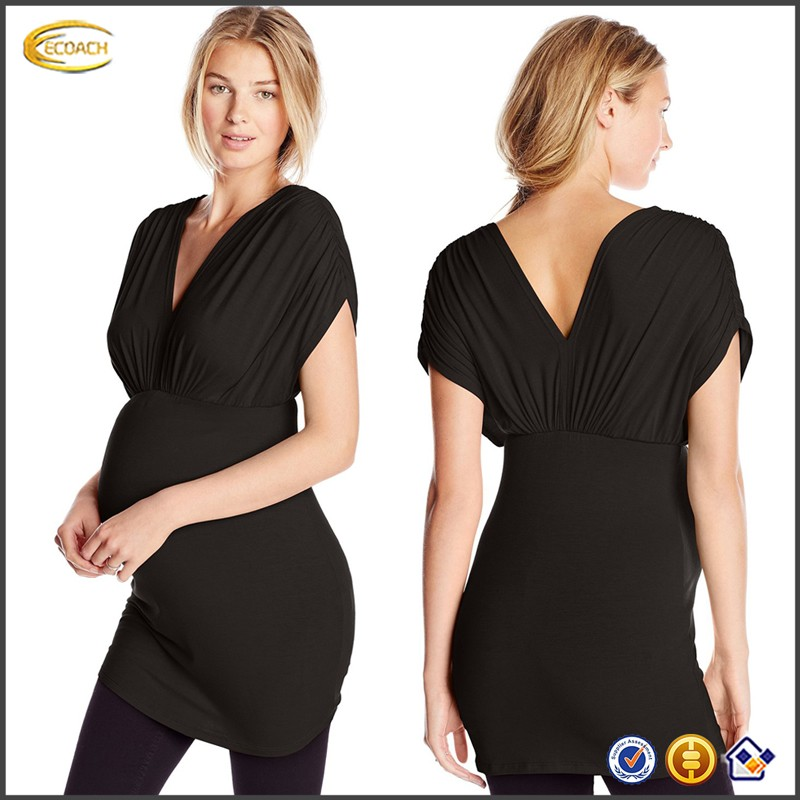 Ecoach Wholesale OEM New Arrival Melody Women's Maternity Deep V-Neck Short Sleeve Tunic Dress Bodycon Solid Color with Ruching