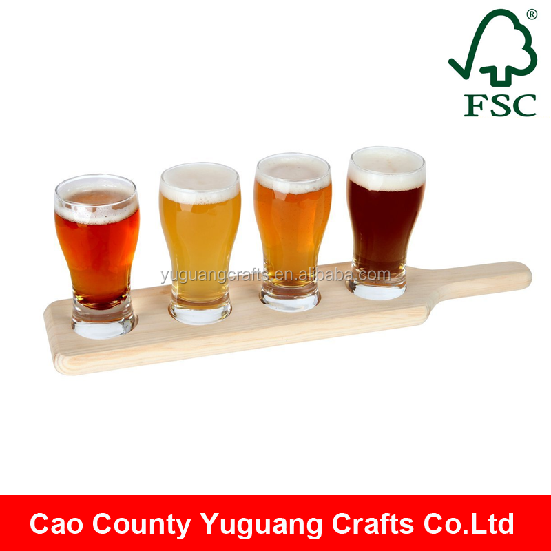 Wooden Beer Tasting Serving Paddle Shot Glass Wooden Tray