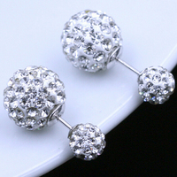 Christmas diamond Crystal Statement Stud Earrings Fashion Jewelry sliver crystal Round Zircon Stud Earrings Round Zircon