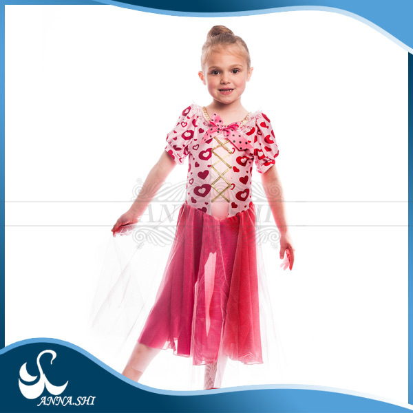 Spandex Girls kid hearts printing puffy ballet tutu dance wear dresses