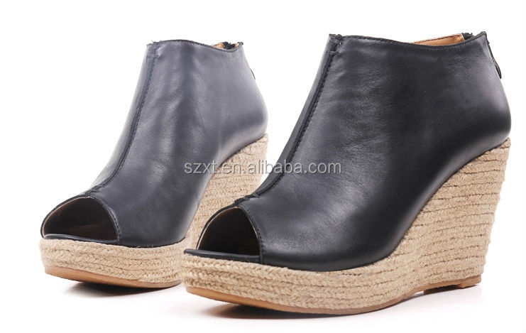 Top quality women shoes wedge jute shoes women wedge boots winter