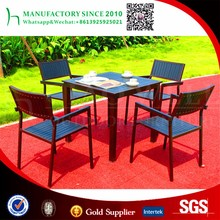 Simple style 4 seater dining table wood plastic composite furniture outdoor