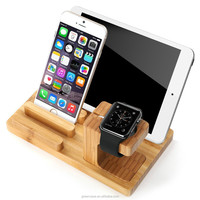 Luxury 3 in 1 Using Desktop Wooden Watch Holder for Apple Watch for Iphone for Ipad