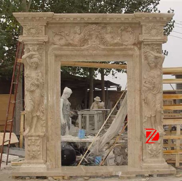 large stone main carving entrance door surround