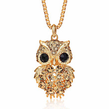 Korea Style Alloy Full Zircon Animal Owl Fashion All Fit with Box Chain Women Sweater Chain Necklace