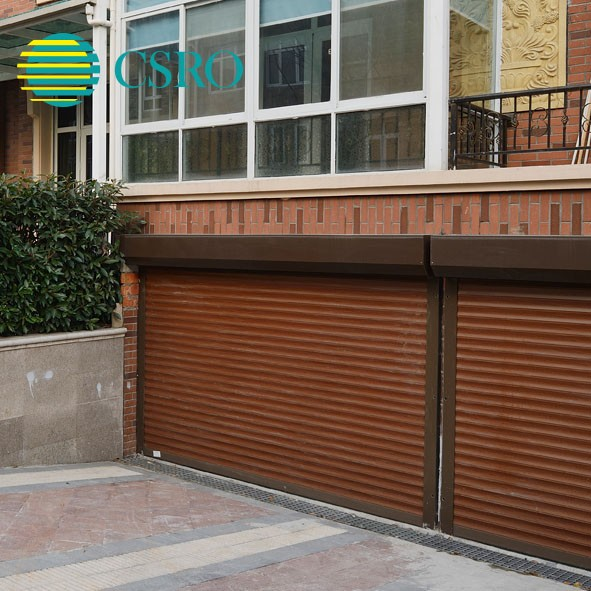 Stainless steel security roll up garage doors with 77mm foam filled slats