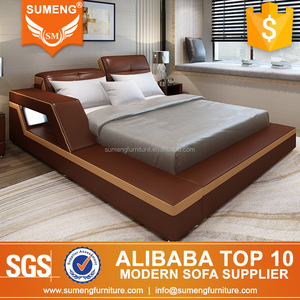 2017 luxury bedroom furniture standard/king/queen size led leather bed sets dubai