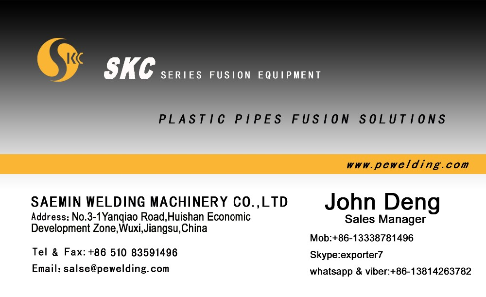 SKC-B250H poly butt fusion machine for welding PP PE PVDF UPVC pipe from 90mm to 250mm