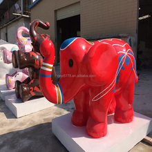 3d figurine customized made cute elephant large fiberglass animals for playground&shopping mall