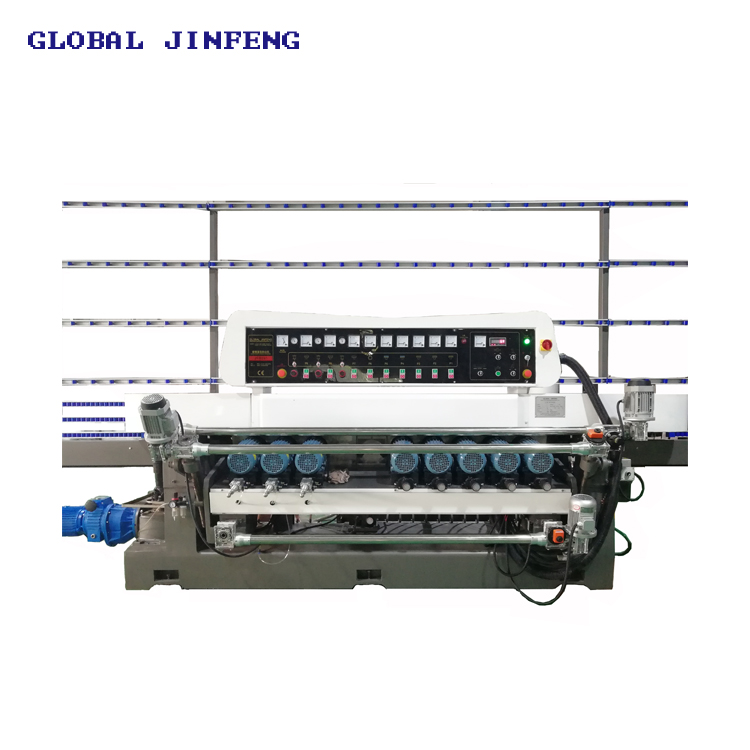 JFB 9motors Glass straight line bevel edge grinding and polishing machinery for sale in Europe with CE