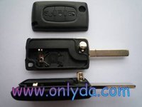 remote key shell chip key Peugeot 407 3- button flip key shell with light with battery place""