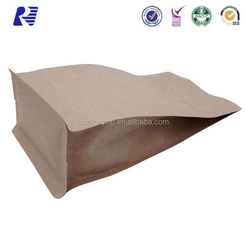 Wholesale plastic lined ziplock stand up kraft paper bag for milk powder