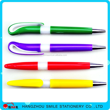 Novelty spring clip plastic ball pen good quality for promotion