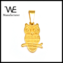 Lovely Owl Shaped Gold Plating Stainless Steel Pendant Necklace