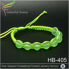 new design woven satin cord bracelet ,braided rope bead jewelry wholesale