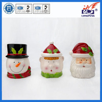 "Home Decorative Smiling Christmas Santa Claus 6.3"" Cookie Jar and Lid,Personalized Friendly Elf and Snowman Bisque Jars"