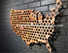 Hot sale custom carved wooden world map USA beer cap map